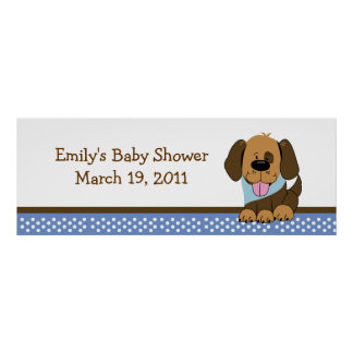 Handsome Puppy Baby Shower /  Birthday Banner Poster