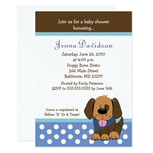 Handsome Puppy Dog Baby Boy Shower 5x7 Card