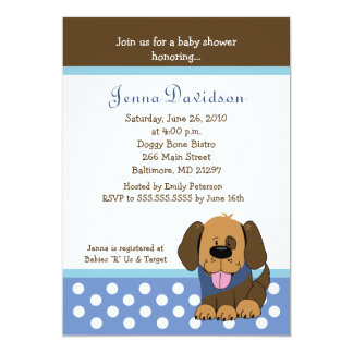 Handsome Puppy Dog Baby Boy Shower 5x7 Personalized Invite