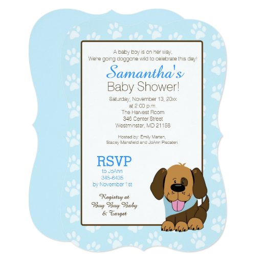 Handsome Puppy Dog Paw Print Baby Shower Invite