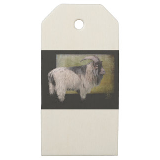 Handsome pygmy goat wooden gift tags
