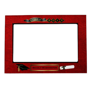 Handsome Red, Black, & Gold Tone Graduation Photo Magnetic Picture Frames