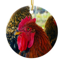 Handsome Rooster Ceramic Ornament