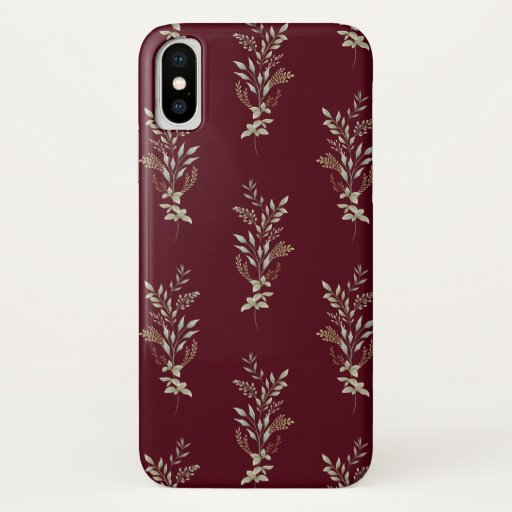 Handsome Silver Leaf Print Maroon iPhone case