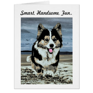 Handsome Tricolor Corgi Father's Day Greeting Card