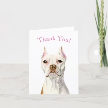 Handsome White Pit Bull Terrier Dog Thank You Card