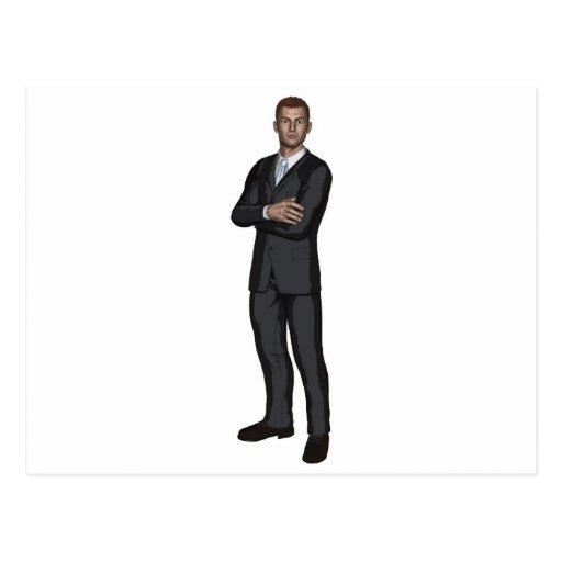 Handsome young businessman postcard
