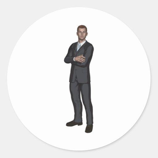 Handsome young businessman round sticker