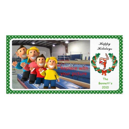 Handstand gimnástico Santa de la tarjeta de la fot Tarjeta Fotografica Personalizada