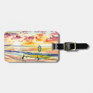 Handstands on the beach sunset bag tag