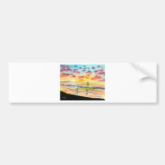 Handstands on the beach sunset bumper sticker