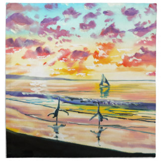 Handstands on the beach sunset cloth napkin