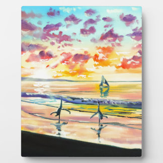 Handstands on the beach sunset plaque