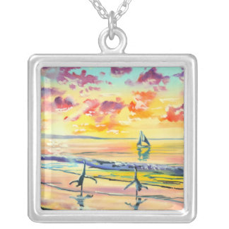 Handstands on the beach sunset silver plated necklace