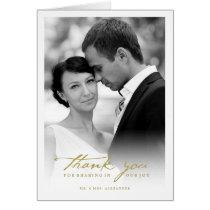 Handwrite Script Chic Photo Wedding Thank You Card