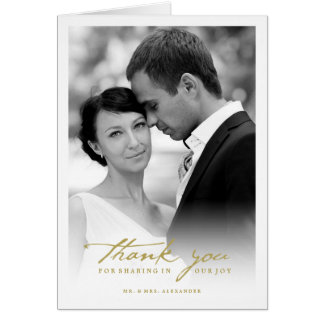 Handwrite Script Chic Photo Wedding Thank You Card