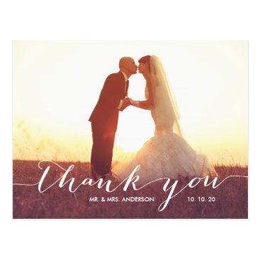 monogramgallery Handwriting 2 Photo Wedding Thank You Postcard