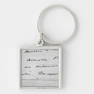 Handwriting and Signature Silver-Colored Square Keychain