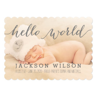 "Handwriting Baby Birth Announcement Photo Card 5"" X 7"" Invitation Card"