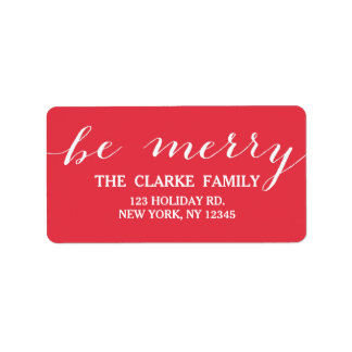 Handwriting Be Merry   Holiday Address Label