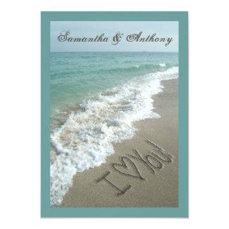 "Handwriting Beach Destination Wedding Invitation 5"" X 7"" Invitation Card"