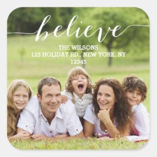 Handwriting Believe | Holiday Photo Address Label