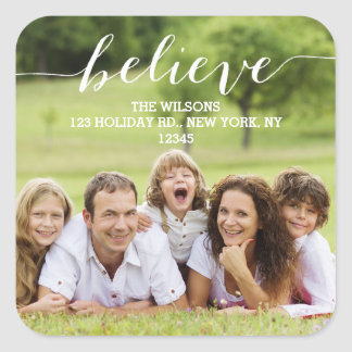 Handwriting Believe | Holiday Photo Address Label Square Sticker