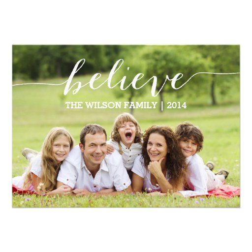 Handwriting Believe Holiday Photo Card