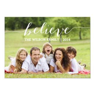"Handwriting Believe Holiday Photo Card 5"" X 7"" Invitation Card"