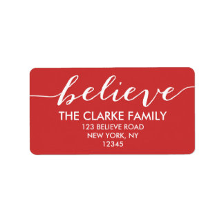 Handwriting Believe Red White Holiday Greeting Label