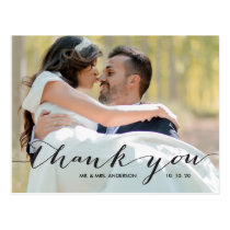 Handwriting Black 2 Photo Wedding Thank You Postcard