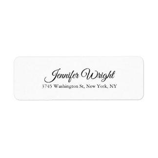 Handwriting Elegant Classical Plain Black White Label