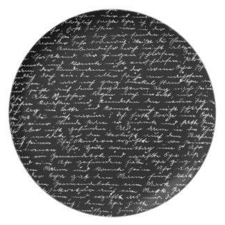 Handwriting Melamine Plate
