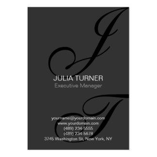 Handwriting Monogram Black Grey Unique Large Business Card