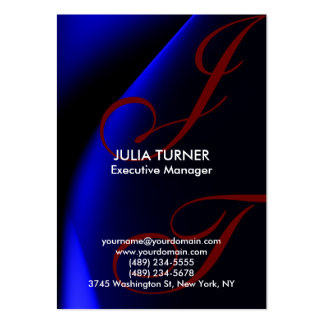 Handwriting Monogram Blue Unique Professional Large Business Card