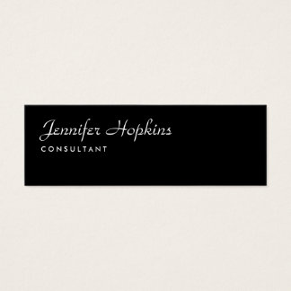 Handwriting Plain Black Modern Slim Feminine Mini Business Card