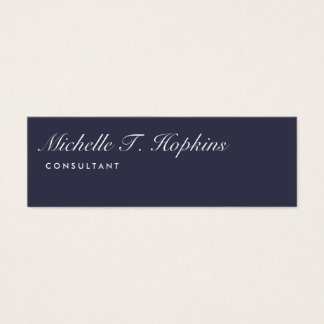 Handwriting Plain Midnight Blue Modern Feminine Mini Business Card