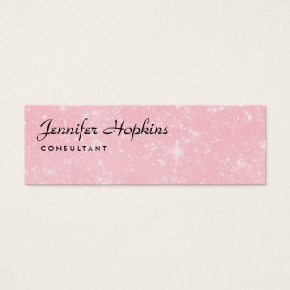 Handwriting Plain Pink Modern Slim Feminine Mini Business Card