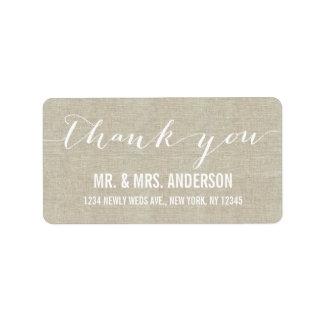 Handwriting Script Wedding Thank You Beige Linen Address Label