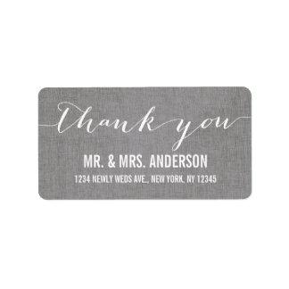 Handwriting Script Wedding Thank You Gray Linen Address Label