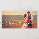 """Handwriting Script   Wedding Thank You Photo Card<br><div class=""""desc"""">Elegant white script with words &quot;thank you&quot; on a photo overlay design by Elke Clarke &#169; Available in our shop at www.zazzle.com/monogramgallery</div>"""