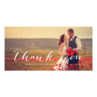 Handwriting Script   Wedding Thank You Photo Card