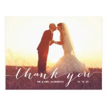 Handwriting Script   Wedding Thank You Postcard