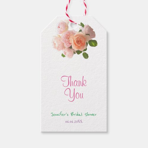 Handwriting Thank You Text Modern Watercolor Roses Gift Tags