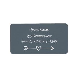Handwriting typography heart arrow address labels