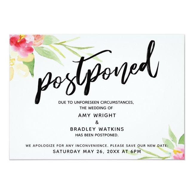 Handwriting Watercolor Flowers Postponed Wedding Invitation
