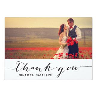 Handwriting Wedding Photo Thank You Card