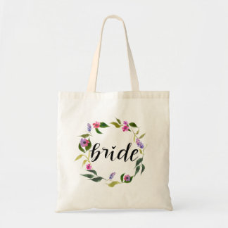 Handwritten Bride Script Watercolor Floral Wreath Tote Bag
