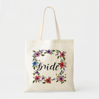Handwritten Bride Script Watercolor Flowers Tote Bag