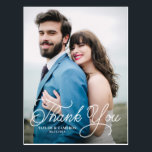 "Handwritten Calligraphy Wedding Thank You Postcard<br><div class=""desc"">Handwritten Calligraphy Photo Wedding Thank You Postcard. Customizable photo thank you postcard featuring white handwritten script. Personalized by adding your details,  thank you message,  vertical front photo and horizontal back photo. This modern and elegant thank you card will be perfect for weddings,  graduations and similar events.</div>"